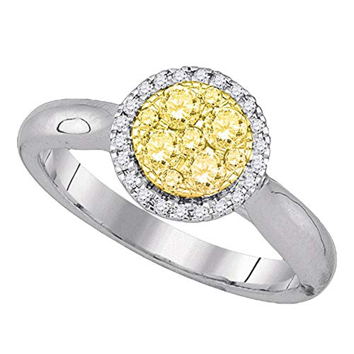 Solid 14k White Gold Round Canary Yellow Diamond Circle Cluster Engagement Wedding Anniversary Ring Band 1/2 Ct. - Size 7