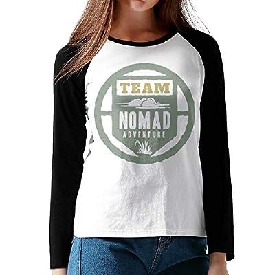 FashionWomen Print Nomad Cotton Graphic Long Sleeve Baseball T-Shirts XL Black by Onesunc