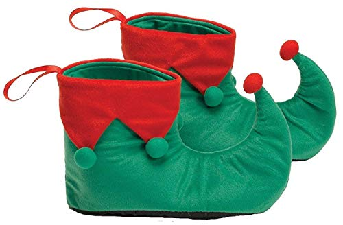 Halco, Elf Shows, Red & Green Shoes Trimmed with POm-Poms and Vinyl Bottoms, Christmas Clothing