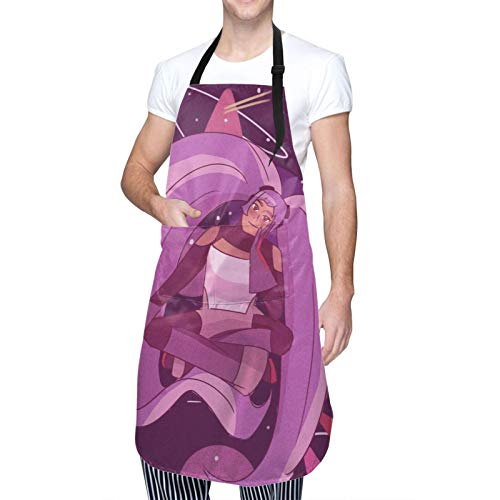 Cooking Kitchen Aprons Waterproof She-Ra - Princess of Po-wer Chef Bib Adjustable Neck Strip with 2 Pockets for BBQ Drawing Gardener Cooking Waiter