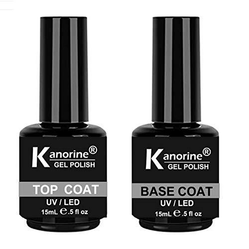 KANORINE Gel Polish Base Coat & Top Coat UV LED Soak Off Gel Nail Polish Set 2 x 15ml