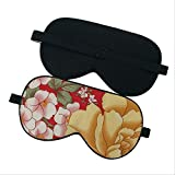 Augenmaske für Schlafseide, 100% reine Seide Blumenmuster weiche Maske, Reise-Relax-Hilfe einstellbar, für Männer, Frauen und Kinder 1pc 22X11cm rot-2
