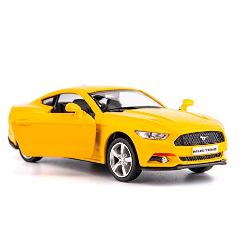 TGRCM-CZ 1/36 Scale Mustang GT 2015 Casting Car Model, Zinc Alloy Toy Car for Kids, Pull Back Vehicles Toy Car for Toddlers Kids Boys Girls Gift (Yellow)
