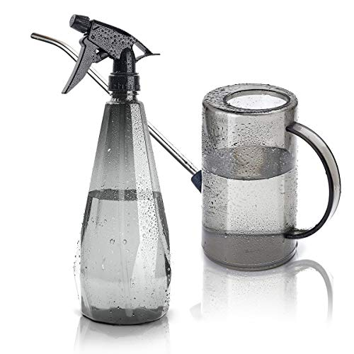 Dreameery Plant Watering Can Long Spout, 1 Liter Small Water Can, Garden Watering Can Indoor/Outdoor for House Plant, Flowers, Succulents, Bonsai, with Bonus 1 Liter Plant Mister Spray Bottle (Grey)