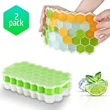 Ice Cube Trays with Lids,2-Pack 74 Ice Cubes Food Grade Silica Gel Flexible and BPA Free with Spill-Resistant Removable Lid Ice Cube Molds for Chilled Drinks, Whiskey & Cocktails(Green&White )
