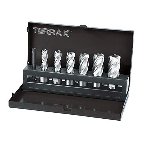 Ruko Terrax Juego vástago Weldon 19 mm de 7 Piezas (6 Brocas Huecas + 1 guía-expulsor), Negro