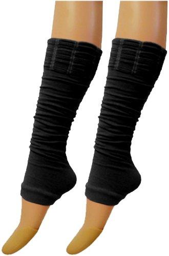 Damen & Mädchen Leuchtend Fluoreszierend Neon Stretch Fit Comfort Ankle Bein Wärmer - Damen, Schwarz, Einheitsgröße