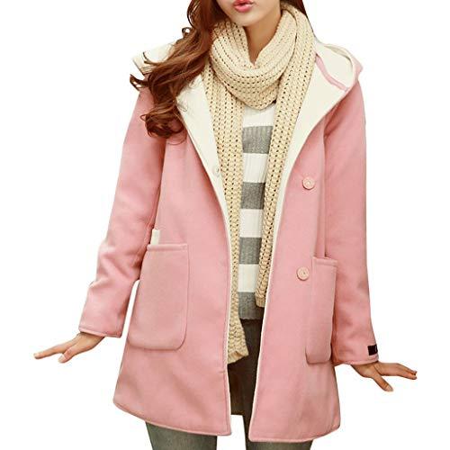 Ashui Damen Wintermantel Trenchcoat Parka Outdoor Coat Hooded Jacke Herbst Winte Elegant Wollmantel Exquisit Windjacke Lang Mantel Übergangsjacke Dufflecoat Outwear