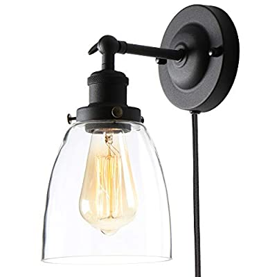 XIIDNG Glass Plug in Wall Light Fixture, Clear Glass Industrial Wall Sconce Lamp, Black Classic Retro Wall Lamp