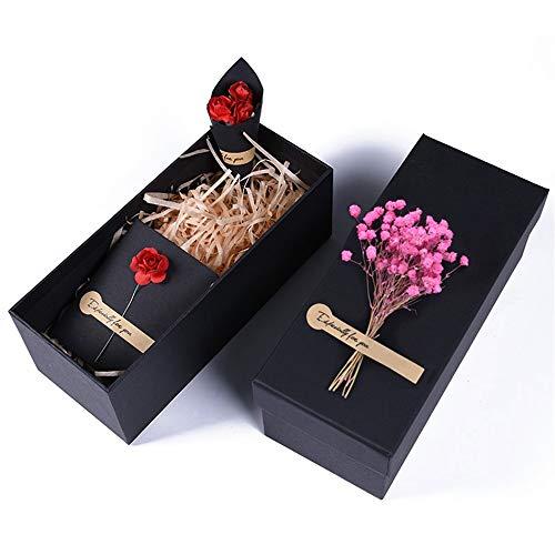 YIKEY-Geschenkbox Rosa natürliche getrocknete Blumen-rechteckige Geschenkbox, Geburtstagsgeschenkbox-Becher-Rotwein-Box, Geschenk-Tasche und kleine Aufkleber-Geschenkbox, 3 Größen wahlweise freigest