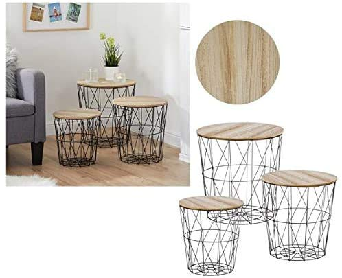 DRULINE Mesa auxiliar de diseño, cesta de metal, decorativa, cesta de madera, 3 unidades, color negro