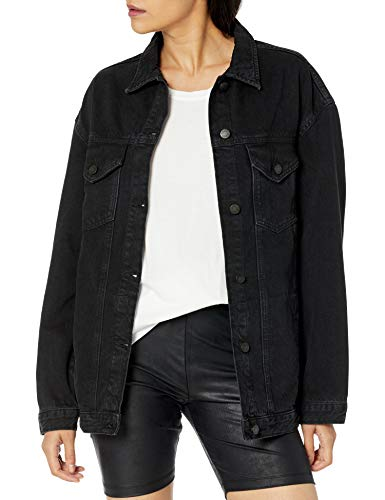 The Drop Women's Andrea Oversized Denim Jacket, Faded Carbon, XS