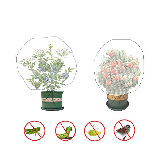 Sirozi 4 Pack Plant Insect Bird Barrier Net Mesh with Drawstring, 3.5Ftx2.3Ft Plant Protective Cover Garden Flower Screen Barrier Bag for Vegetables Fruits Flower from Bird Eating