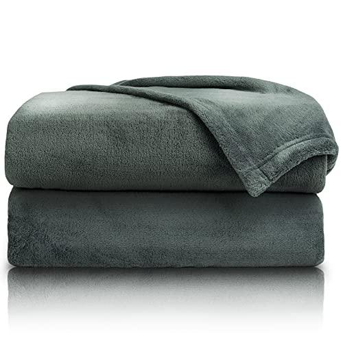 PURE LABEL 2er Set Kuscheldecken grün 150x200 cm mit Premium Soft Finish. Doppelpack hochwertiger, Flauschiger Fleecedecken als Wohndecken, Tagesdecken oder Sofaüberwurf geeignet