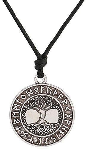 Dawapara - Collar con colgante, diseño de árbol de la vida Yggdrasil, talismán vikingo, runa celta