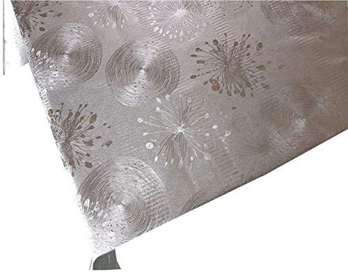 Mantel de Hule Damasco Efecto Metal Plateado Plata Relieve