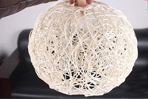 JIN Chandelier Útil Lámpallas Personalizadas Simple Rattan Ball Dormitorio Terraza Terraza Pastoral Windows Tienda de Ropa Creativa Colgante Lámpara,Blanco,Medio