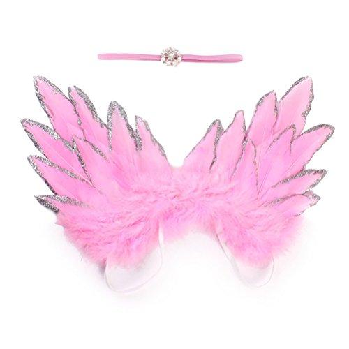 OULII Ailes d'ange plume nouveau-né bébé photographie accessoires tenue avec bandeau (rose)