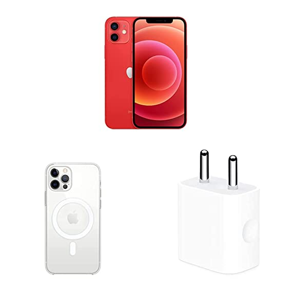New Apple iPhone 12 (256GB) - (Product) RED with Apple Clear Case with Magsafe (for iPhone 12, 12 Pro) and Apple 20W USB-C Power Adapter