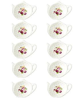 Linlins White Porcelain Ceramic Set with Flower Trim Teapot-Shaped Tea Bag Holder Tea Bag Coasters Spoon Rests  Classic Tea Saucer Seasoning Dish Set  XQX