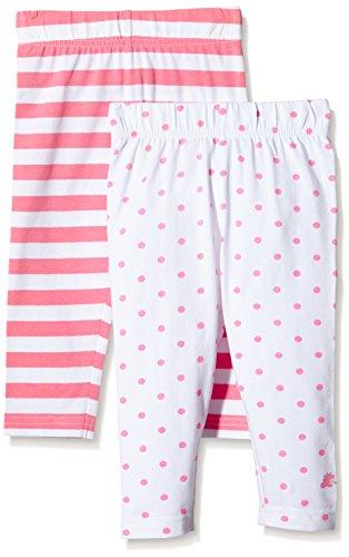 Twins Baby - Mädchen Leggings im 2er Pack, Streifen und Punkte, Gr. 56, Mehrfarbig (Morning Glory/Weiss 3207)