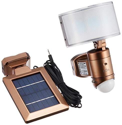 大進 センサーライト ソーラー式 電球色LED 明るさ510ルーメン 広角レンズ 防雨構造