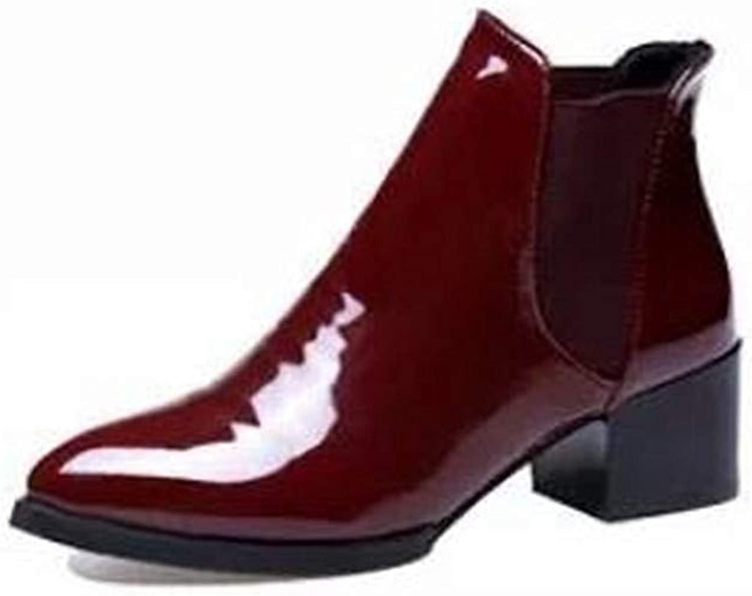 2018 Autumn Patent Leather Pointed Low-Heeled Boots Ankle Boots