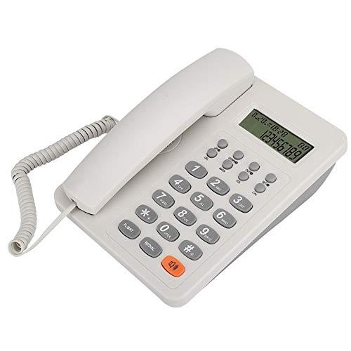 gostcai KX-T8206 Teléfono de Escritorio de Oficina en inglés, con Pantalla LCD, línea Fija de Sistema Dual DTMF FSK, 16 Tonos de Llamada Opcionales, línea telefónica Fija con alimentación.(Blanco)