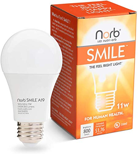 """NorbSMILE Full-Spectrum """"Sunlike"""" Premium A19 LED Light Bulb. Boosts Energy, Mood & Performance. Supports Circadian Rhythm. Near-Perfect Color Rendering. Patented Technology US Based (1-Pack)"""