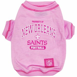 NFL New Orleans Saints Pink Dog T-Shirt, X-Small. - Football Sports Fan Pet Shirt.