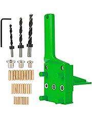 Juego de 15 plantillas de taladro con guía para taladrar tacos de madera con tope paralela, kit de plantilla con centrador giratorio de 6 mm/8 mm/10 mm