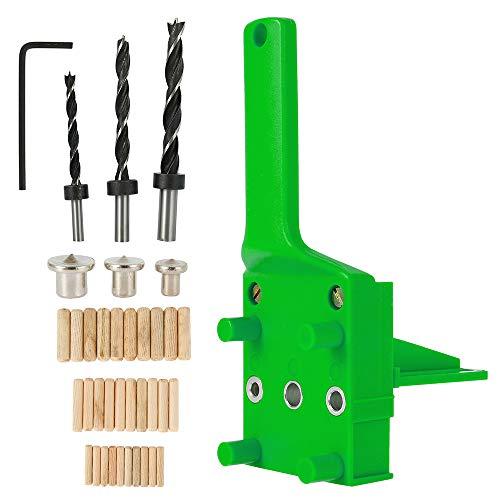 Juego de 41 plantillas de taladro con guía para taladrar tacos de madera con tope paralela, kit de plantilla con centrador giratorio de 6 mm/8 mm/10 mm (verde)