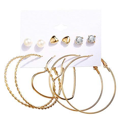 Conjunto de pendientes de perlas sintéticas acrílicas con borla, 6 piezas