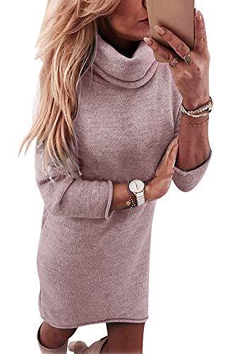Yidarton Overzised Pullover Damen Winterkleid Pulloverkleid Strickkleid Damen Strickjacke Tops Bluse Frauen Asymmetrischer Langarm Minikleid für Winter, Hoher Kragen Rosa, M