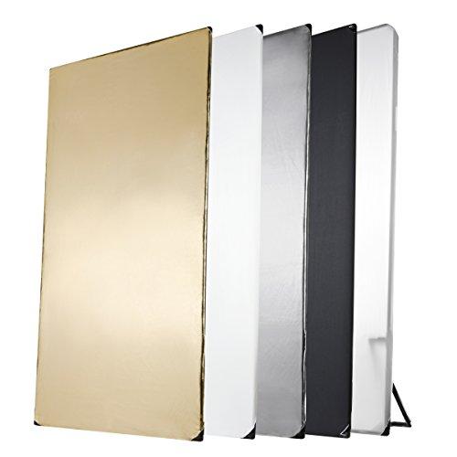 Walimex Pro 5-in-1 Reflektorpanel (1 x 2 m) schwarz/silber/weiß/gold/Durchlicht (inkl. Transporttasche)