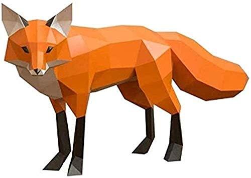 Escultura,Fox 3D Origami Modelo De Papel DIY Fox Paper Crafts Estatua Animal Montado En La Pared Hecho A Mano Decoración Creativa Colección De Juguetes