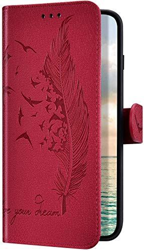 Uposao Compatible avec Huawei P30 Coque de Protection Etui en Cuir PU Leather,Vintage Oiseau Plume Motif Housse à Rabat Magnétique Portefeuille Pochette Clapet Stand Flip Wallet,Rouge