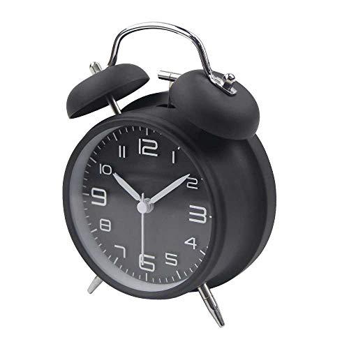 HUA-Wekker 2019 Nieuwe Alarm Klok Stille Scan Moderne Zwarte Metalen Bureau Klok Tafelhorloge Quartz Wakker Licht
