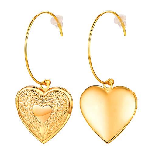 Heart Shape Locket Hoop Earrings For Women Lightweight, Romantic Present For Her Lover 18K Gold Plated Vintage Pattern Photo Frame Memory Jewellery For Girls Heart Dangle Earring (With Gift Box)
