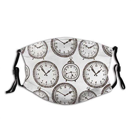 Munds-chutz Gesichtss-chutz Vintage Taschenuhr mit Zahlen darauf Antike Design Chronometer Altmodischer Druck Sturmhaube Unisex Bandana Gesichtsdekorationen FA-Ce Co-Ver FA-Ce Mas-Ke Mit Filtern