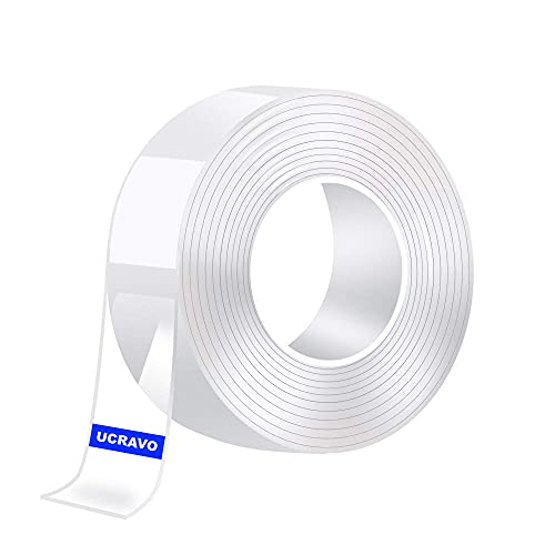 UCRAVO Nano Double Sided Tape Heavy Duty - Multipurpose Removable Traceless Mounting Adhesive Tape for Walls,Washable Reusable Strong Sticky Strips Grip Tape