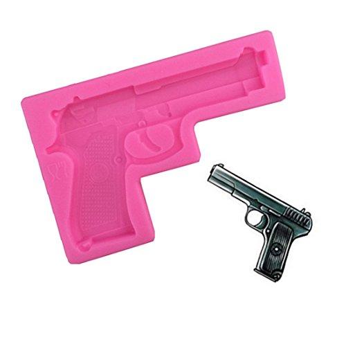 Molde de silicona con forma de pistola para fondant en 3D, molde de silicona para cupcakes, gelatina, dulces, chocolate, decoración para hornear (pistola)