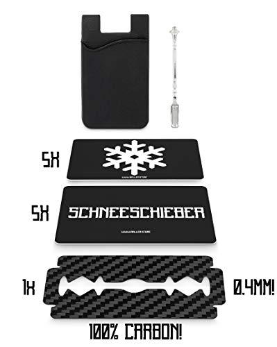 BALLER.STORE Ballerkarten-Set inkl. 100% Carbon-Rasierklinge | 5X SCHNEESCHIEBER | 5X Schneeflocke | 1x Löffel | Schnupftabak