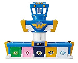 Choose your teams and launch your favourite Super Wings Missions Teams to save day Turning the tower 90 degrees opens the hangar door, releasing and launching your Transform-a-Bot vehicle. Slide the tower and manually launch your vehicle using the sl...