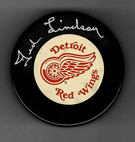 Signed Ted Lindsay Hockey Puck - Official - Autographed NHL Pucks