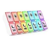 Pastillero Semanal Español 2 Tomas, Jaduoher Pequeño Organizador Medicamentos 7 Dias Diaria con 14 Compartimentos - Muticolor (Multicolor) (Multicolor)