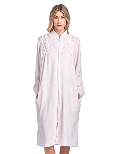 Casual Nights Women's Zipper Front Jacquard Terry Fleece Robe Duster