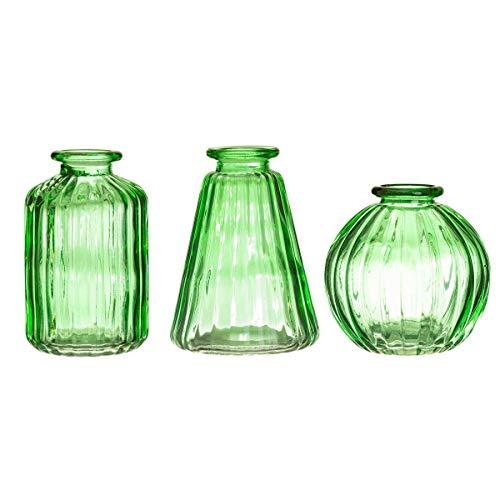 Sass & Belle Jarrones de cristal verde – Juego de 3