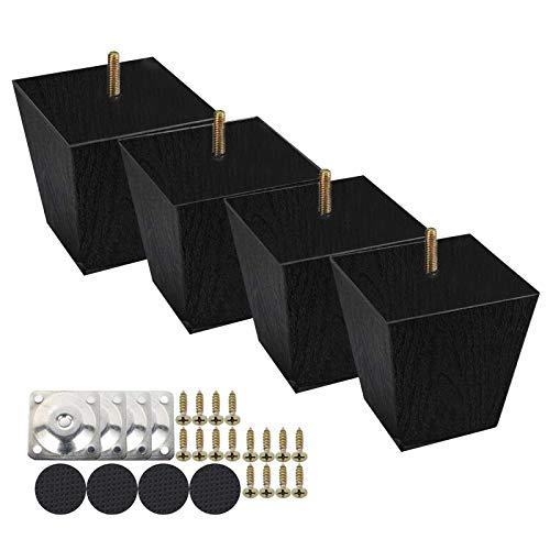 Honeyhouse Ersatz Möbelfüße Möbelbeine 4 Stück, Schwarz Holz Sofafüße 6cm/10cm/15cm mit Schrauben und Filzgleiter aus Eiche für Stühle und Sofa