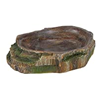 Polyester resin material safe for the use with food Interior steps to reach water and food more easily Natural look reptile water and food bowl Smooth inside makes it easy to clean Measures 10 cm length by 2.5 cm width by 7.5 cm height